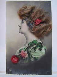 Antique Woman Postcard And039real Hair Flowersand039 Hand Tinited Colored