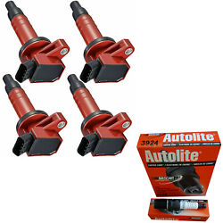 Autolite Resistor Spark Plug And Racing Ignition Coil For Toyota Corolla 1.8l L4