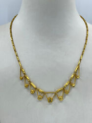 24k Solid Yellow Gold Hanging Beads Chain Necklace 14 Grams 17.5