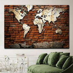 Cement World Map Antique And Vintage World Maps Canvas Art Print For Wall Decor