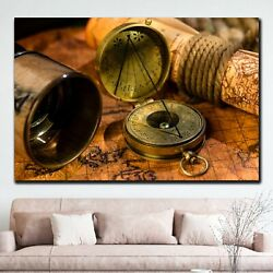 Spyglass And Compass On Map Antique And Vintage World Maps Canvas Art Print For
