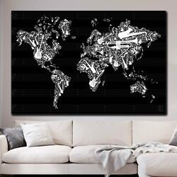 Music World Map Antique And Vintage World Maps Canvas Art Print For Wall Decor