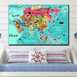 Asia Map For Kids Antique And Vintage World Maps Canvas Art Print For Wall Decor