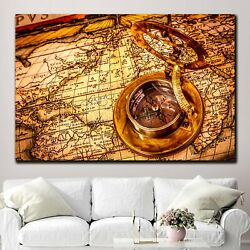 Navigation World Map With Compass Antique And Vintage World Maps Canvas Art Prin