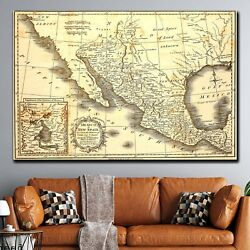 Old Map Of Mexico Antique And Vintage World Maps Canvas Art Print For Wall Decor