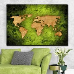 Green Textured World Map Antique And Vintage World Maps Canvas Art Print For Wal