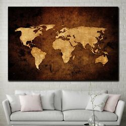 World Map In Sepia Antique And Vintage World Maps Canvas Art Print For Wall Deco