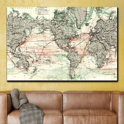 1875 Antique World Map Antique And Vintage World Maps Canvas Art Print For Wall