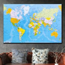 Detailed World Map Antique And Vintage World Maps Canvas Art Print For Wall Deco