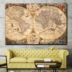 Vintage World Map Antique And Vintage World Maps Canvas Art Print For Wall Decor