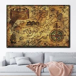 Old Pirate World Map Antique And Vintage World Maps Canvas Art Print For Wall De