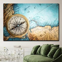 Retro Compass On Ancient Map Antique And Vintage World Maps Canvas Art Print For