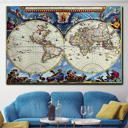 Ancient World Map Antique And Vintage World Maps Canvas Art Print For Wall Decor