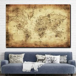 Old Map Of The World Antique And Vintage World Maps Canvas Art Print For Wall De