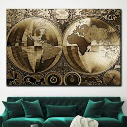 Classic World Map Antique And Vintage World Maps Canvas Art Print For Wall Decor