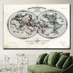 1846 World Map Antique And Vintage World Maps Canvas Art Print For Wall Decor
