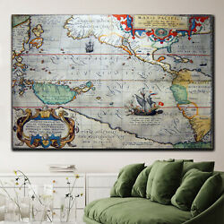 Antique Pacific Ocean Map Antique And Vintage World Maps Canvas Art Print For Wa