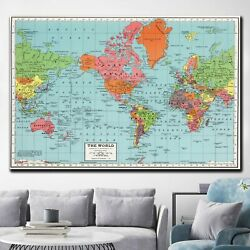 Detailed Global Map Antique And Vintage World Maps Canvas Art Print For Wall Dec