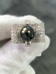 18k White Gold Genuine Diamonds And Black Tahitian Pearl 9mm Cocktail Ring Size 7