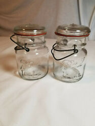 1908 Ball Ideal Pint Jars 2 With Glass Lids, Rubber Seal And Wires. 7/14/1908