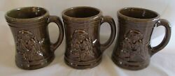 3 Mccoy Antique Brown Pottery Buccaneer Mugs Tankards 1920's Shield 6 Mark Usa