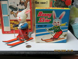 Bunny Skier In Box Tin Wind Up New Old Stock 50s Works N Mint Japan Super Rare