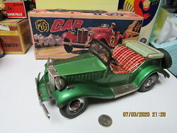 Mg Car Friction Convertible 1950s Bandai Japan Works Rare Green Color Excellent
