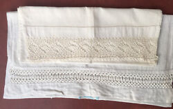2 Antique/vintage Cotton And Linen Table Runners Toppers Lace Crochet Edgings