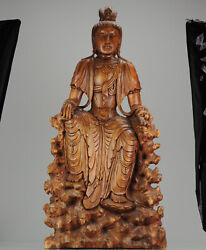 Huge 20c Chinese Carved Wood Statue Of A Guanyin Goddes Great Carving