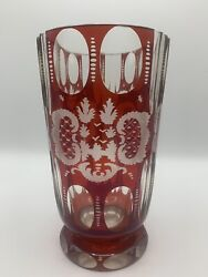 Antique Ruby Red Bohemian Cut To Clear Glass Vase With Castle And Stag Motifs