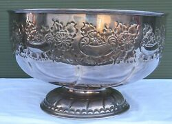 Large Vintage Viners Chased Silver-plated Punch Bowl Diam 37cm Country House
