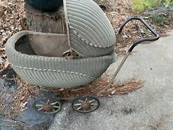 Antique Wicker Baby Buggy Carriage
