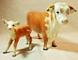 Vintage Beswick England Hereford Bull 949 And Calf 854 Cattle Cow Figurine