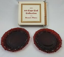 Avon Vintage Cape Cod 1876 Dessert Plates Dishes Ruby Red Collection Set Of 2andnbsp