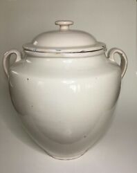 Antique French Large White Confit Jar Pot With Lid 19th Century