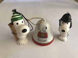 Vintage 1966 Snoopy English Gentleman and Skier Ceramic Ornaments w Snoopy Bell