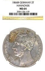 German States Hannover 1866 2 Talers Coin Thaler Ngc Ms 64 F.st/stg Unc Deutsch