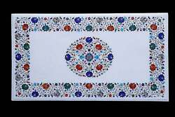 4'x2' Marble Dining Table Top Marquetry Semi Precious Inlay Antique Decorative