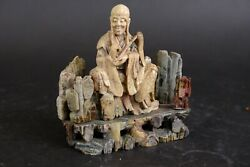 Lovely Antique Carved Stone Figure Of A Wise Man 19th Century
