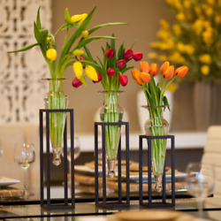 18 In. 16 In. And 14 In. Glass Decorative Amphora Vase On Square Tubing Metal S
