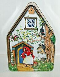 Silver Crane 1996 Fairy Tale Cottages Little Red Riding Hood Tin Box Container
