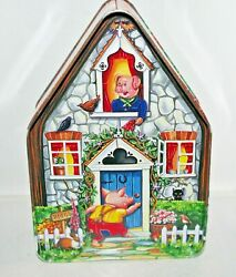 Silver Crane 1996 Fairy Tale Cottages Three Little Pigs Tin Box Container