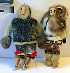 Antique Alaskan Eskimo Family  Daddy, Mommy And Baby Handmade Seal Fur