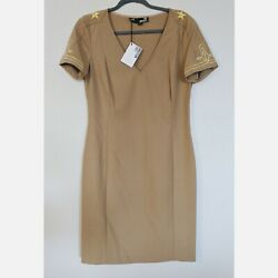 Love Moschino Tan V Neck Military Style Dress Size 10