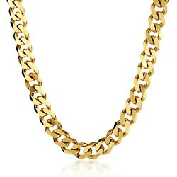 Solid 14k Open Cuban Miami Link Chain Necklace Box Clasp Real 14k Yellow Gold