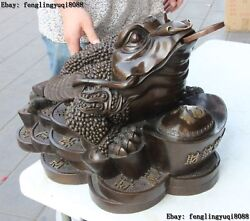16 China Bronze Copper Wealth Yuanbao Coin Three Foot Golden Toad Spittor Statue