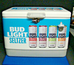 Bud Light Seltzer Hard Sided Cooler With Handle And Bottle Opener Budweiser Retro