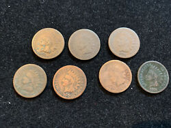 7 Pc Lot 1876 Indian Head 1c Pennies Clear Dates Some Cleaned