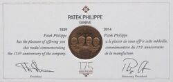 Patek Philippe Coin And Book Of 175 Years Anniversary Of The Company New Rare