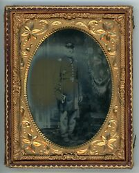 Civil War Soldier Standing Holding Sword Quarter Plate 1/4 Plate Ambrotype
